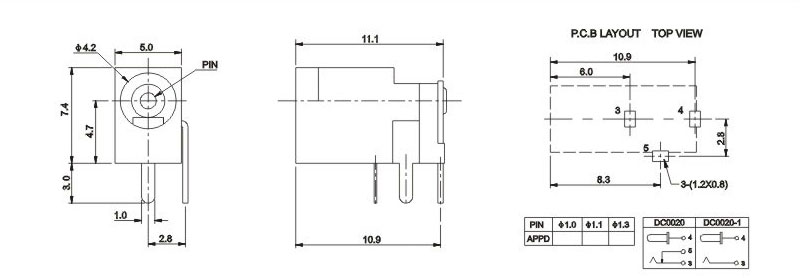 3针dc电源插头dc-002,pc电路板母座